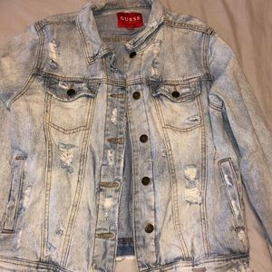 VINTAGE Guess Distressed Jean Jacket w/ holes